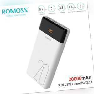 ROMOSS Power Bank 20000mAh Externer Akku Pack 2 USB LED Schnell Handy Ladegerät