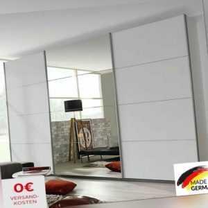 Kleiderschrank Schwebetürenschrank »Fame« Weiß 270 cm mit Spiegel + Schubkästen