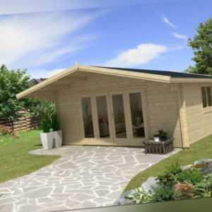 TOPGARDEN Gartenhaus Premium 5x5m Camilla + 1,5m Vordach, 70mm, Falttür, +Boden