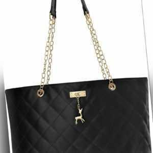 große gesteppte Damentasche Shopper City Tasche schwarz