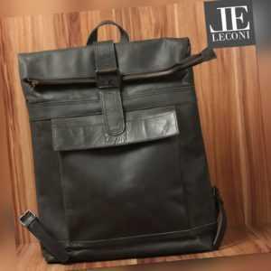 LECONI großer Rucksack Lederrucksack Damen Herren Roll-Top Leder schwarz LE1022
