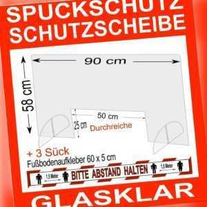 Spuckschutz Schutzscheibe 90 x 58 cm, Durchreiche 50x25 cm + 3 Stück Bodenfolie