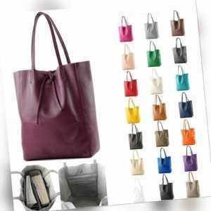 ital. Ledertasche Damentasche Shopper Groß DIN A4 Schultertasche Leder T163
