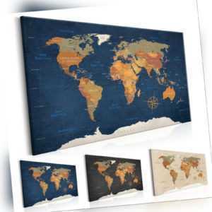 Kork Pinnwand Weltkarte Wandbilder Landkarte Leinwand Bilder xxl k-C-0048-p-b