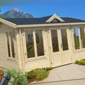 Lasita Gartenhaus Windsor 44 Gerätehaus Hütte Holz Sattel Blockhaus 300x400cm