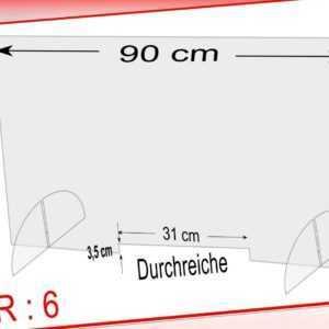 Spuckschutz Schutzscheibe Acrylglas Tischaufsatz 90x58 cm,Durchreiche 31x 3,5 cm