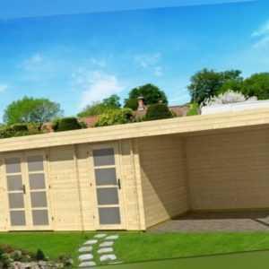 Topangebot Gartenhaus ORIENTAL 4 mit Schleppdach ca. 770 x 320 cm, 40 mm, TENE