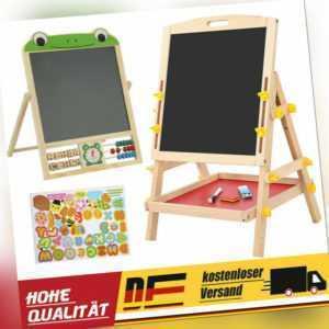 2 in 1 Doppelseitiges Kinder Staffelei Zeichenbrett Schreibtafel Holzstaffelei