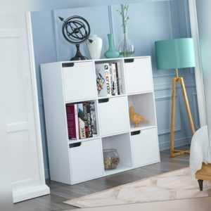 Raumteiler Regal Bücherregal Standregal Bücherschrank Aufbewahrung mit 9 Fächer