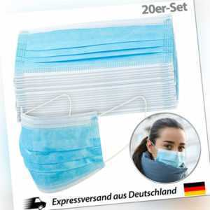 Atemschutz: 20er-Set Medizinische Mund- & Nasen-Masken, 3-lagig, unsterilisiert