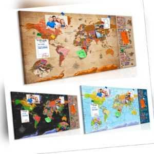 Bild Weltkarte Pinnwand wie Kork Holzfaser WANDBILDER XXL Wohnzimmer Memotafel