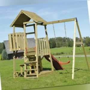 Spielturm Gorilla Holz mit Kletterwand, Schaukel, Sandkasten, Sitzbank und Rutsc