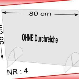 Spuckschutz Schutzscheibe Tischaufsatz Querformat 80 x 58 cm, OHNE Durchreiche