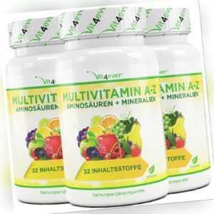 3x Multivitamin A-Z = 360 Tabletten Multivitamin hochdosiert 32 Wirkstoffe Vegan