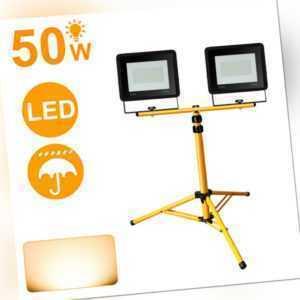 LED Fluter mit Stativ Flutlicht UltraDünn Strahler Garten Hotel 2X50W Warmweiß