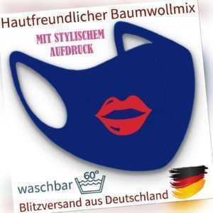 Mundmaske Nasenmaske Gesichtsmaske Fashion Mask Mund Kussmund royalblau waschbar