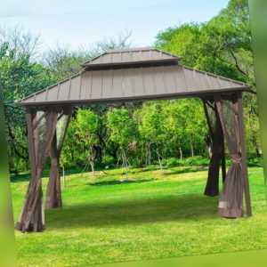 Outsunny Pavillon mit Seitenwände Partyzelt Festzelt Gartenlaube Doppeldach Alu