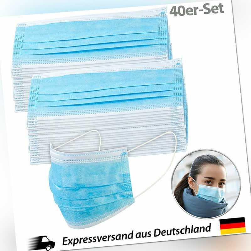 40er-Set Medizinische Mund- & Nasen-Masken, 3-lagig, unsterilisiert