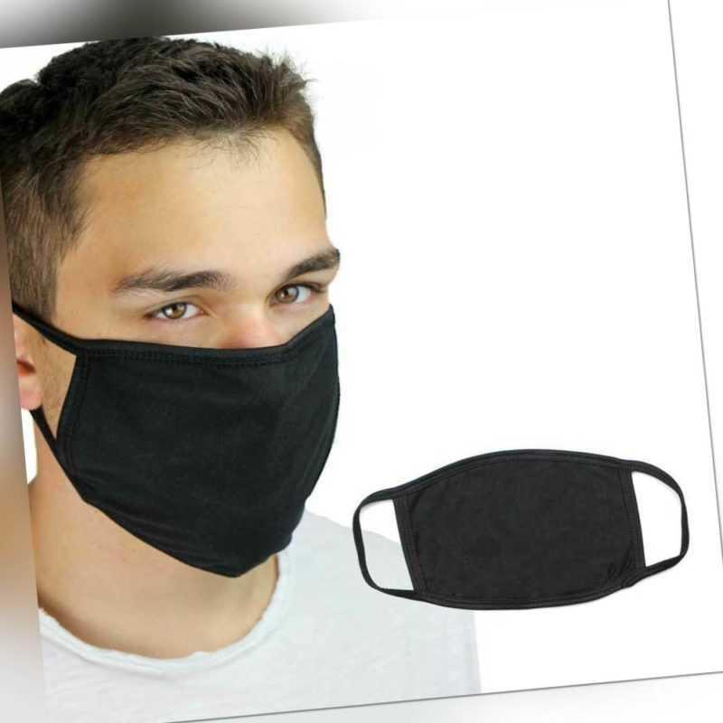 schwarze Behelfsmaske Maske Atemmaske Mundmaske 02 waschbar weiche Baumwolle