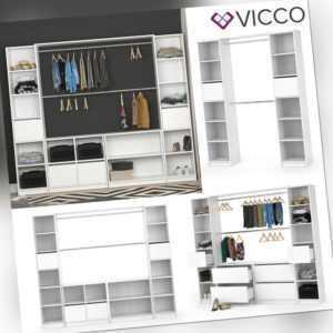 VICCO Kleiderschrank GUEST offen begehbar Regal Kleiderständer Schrank weiß