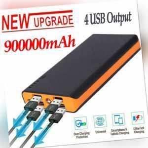 900000mAh Powerbank Externer Batterie Ladegerät 4USB Zusatz Akku für alle Handys
