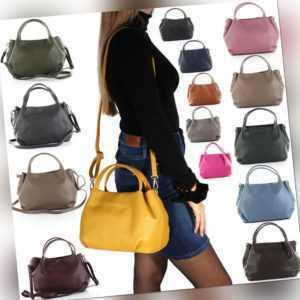 Leder Tasche Hand Schulter Umhänge Tasche Beutel Italy Hobo Bag Shopper A78 NEU