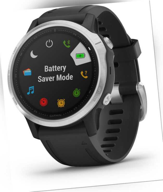Garmin fenix 6S Schwarz Silber iOS Android Smartwatch Puls-Uhr GPS