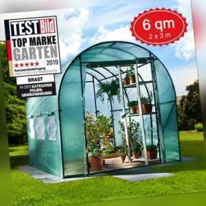 Gewächshaus mit Stahlfundament 6m² Folien-Treibhaus Tomatenhaus Pflanzenhaus
