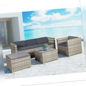 Gartenmöbel Polyrattan Lounge Sitzgruppe Gartenset Möbel grau-meliert ArtLife®