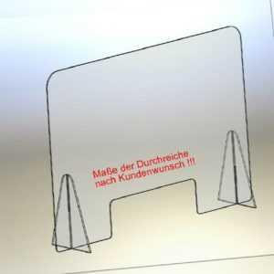 Spuck- Niess- und Husten Schutz Thekenaufsatz Schutzscheibe Acrylglas glasklar