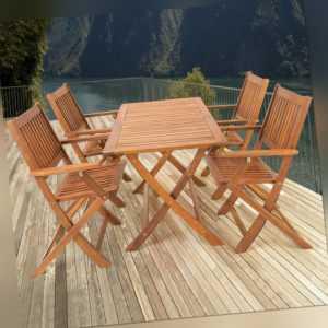 Sitzgruppe Holz Sitzgarnitur Gartenmöbel Gartengarnitur Essgruppe Garten 5-tlg