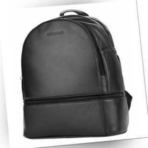 Rucksack Leder Damen schwarz Echtleder Vollleder Lederrucksack Backpack WOODBAG