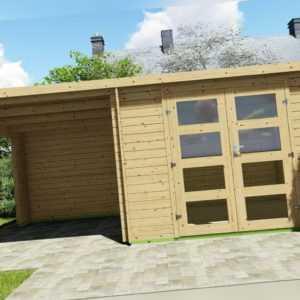 Gartenhaus Flachdach 28mm Gerätehaus Holz Anbau 3x2.4+2.4M Harz EB28236oFL