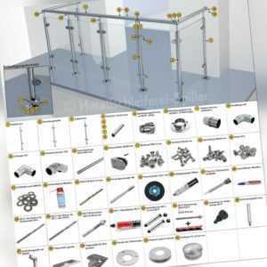 Neu Edelstahl U Glasgeländer Bausatz Balkon Terasse Geländer Handlauf aufgesetzt