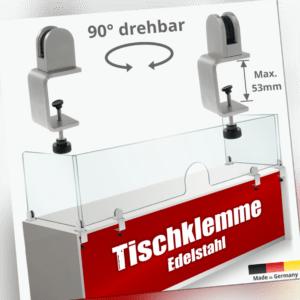 Spuckschutz Tischklemmen K:18-53mm Edelstahl+Glashalter für 3-10,76mm Platten
