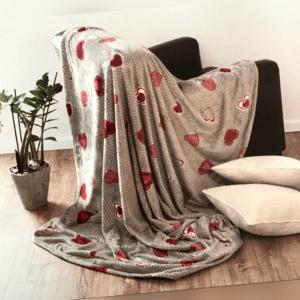 Wohndecke Sofadecke Flanell bedruckt Herzen 100% Polyester 150 x