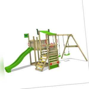 FATMOOSE Spielturm Kletterturm TurboTruck XL Power Doppelschaukel Rutsche Holz