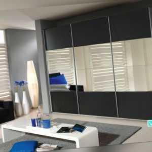 Kleiderschrank Schwebetürenschrank mit Spiegel,2 Breiten, 2 Farben,inkl. Zubehör