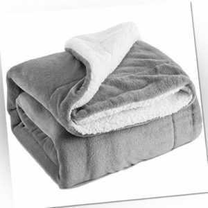 Bedsure Sherpa Decke Flauschige Kuscheldecke/Wohndecke, Sup(Grau,