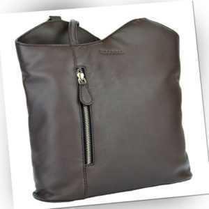 Damenrucksack Leder Handtasche Rucksack Echtleder Rindleder WOODBAG dunkelbraun