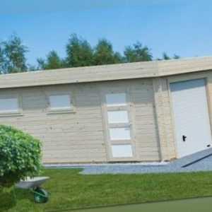 Palmako Holzgarage 44mm Rasmus 19 m² + Sektionaltor 380x570cm Garage Holz Geräte