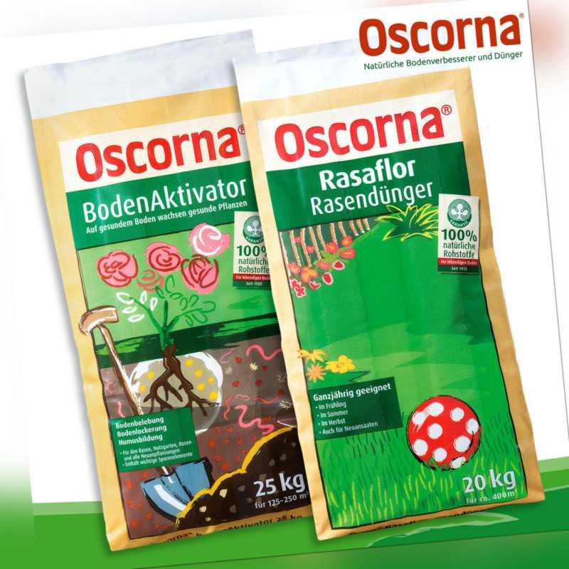 Oscorna® Set: BodenAktivator 25 kg + Rasaflor Rasendünger 20 kg