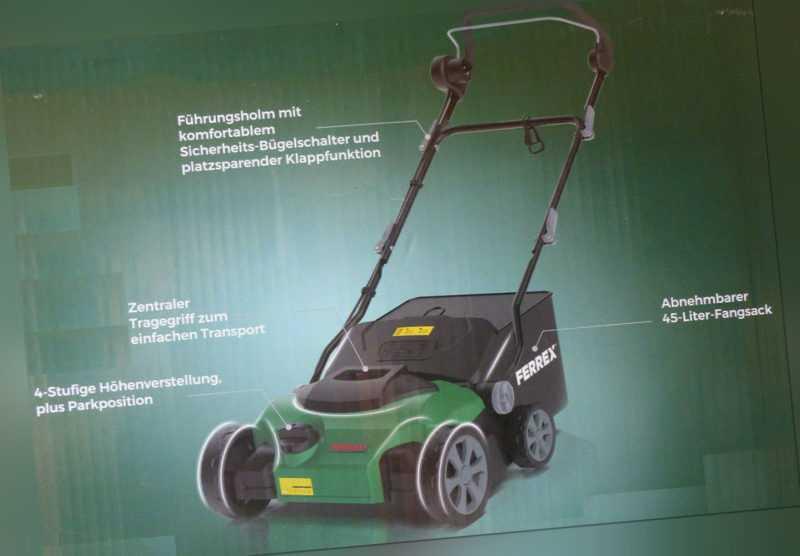 Ferrex Elektro Vertikutierer 2-in-1 Kombigerät Rasenlüfter / NEU!