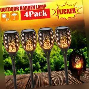 4er Solarleuchte 96 LED Garten Beleuchtung Solar Lampe Fackel Leuchte Flamme NEU