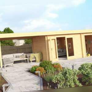 Gartenhaus LINDA 440x300 cm + 200 cm Schleppdach, 40mm Wände, 2 Raum, ohne Boden