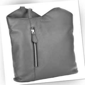 Damenrucksack Leder Handtasche Rucksack Echtleder Rindleder WOODBAG grau neu