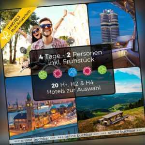 Kurzreise 3 Tage 2P Hotelgutschein 20 Hotels München Leipzig Hamburg Berlin Köln