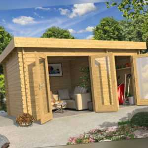 Gartenhaus LINDA Flachdach 440x300 cm, 28mm Bohlen, 2 Räume, ohne Boden