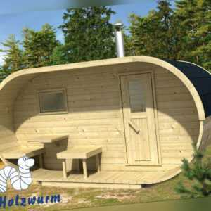 Sauna Oval Holz 405x240 cm 28/42 mm Ofen Holzofen Elektroofen Fichte Neu