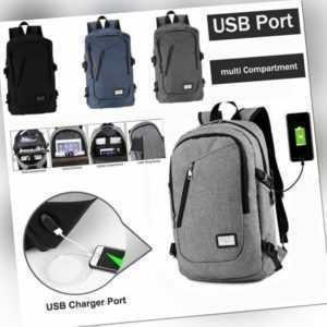 Rucksack Herren Premium Schule Männer Arbeit schwarz USB Schloss Laptop Notebook
